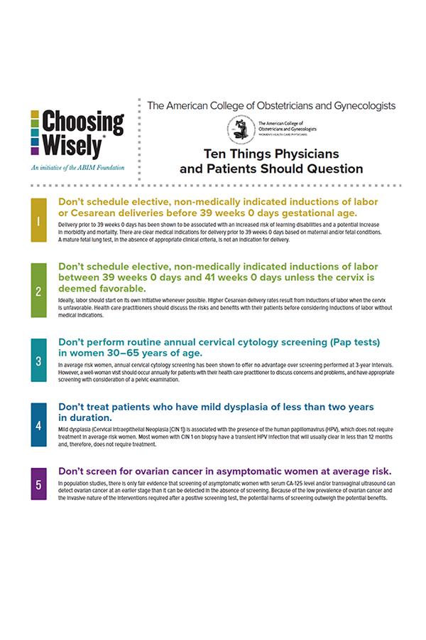 Choosing Wisely by ACOG